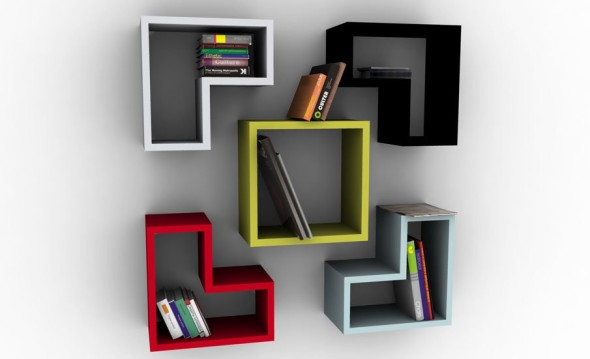 HomeOffice BookShelves 4 590x359 Bookshelve Ideas for Home Office