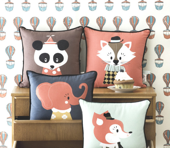 This collection of animal themed cushions will give the room cozy and adorable feeling
