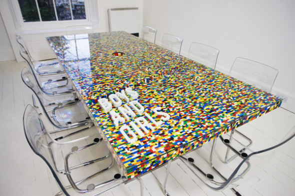 this lego table consists of 22,742 pieces clicked together with traditional lego construction techniques
