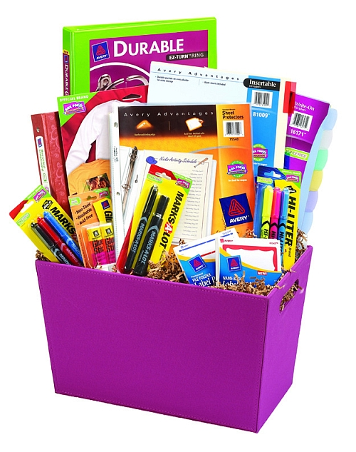 corporate gift ideas - A gift basket overflowing with office supplies