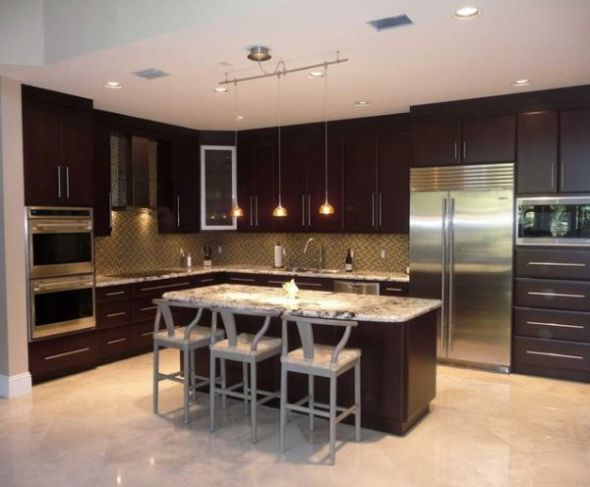 Earthy tones such as brown, peach and yellow are ideal color choices for Kitchen. Strong colors such as brick red also look nice in the kitchen.
