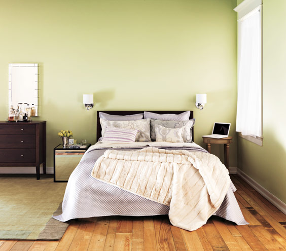 Home Decoration - Light Shades of Green for Bedroom Bring Soothing Effect