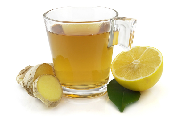 Ginger tea, facilitates detoxing via perspiration while soothing stomach irritation.