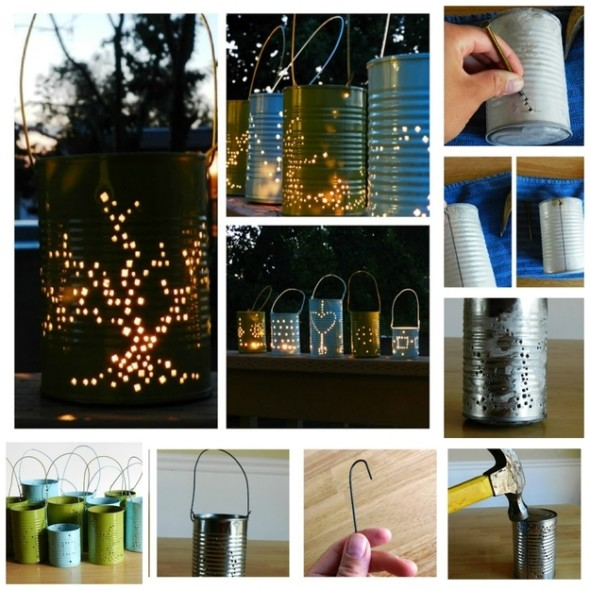 tin can lanterns are easy to make and involve little time and effort