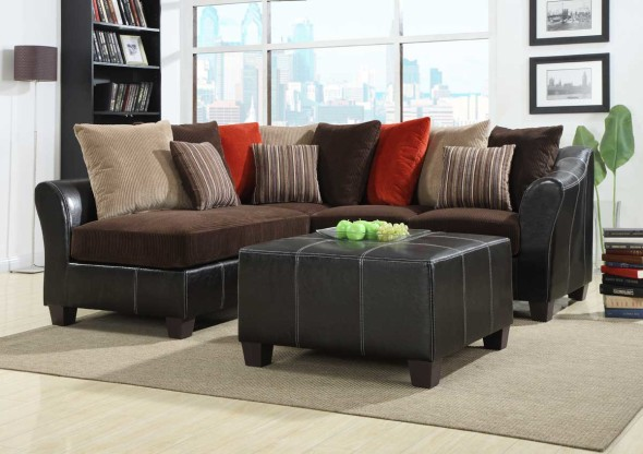 Fabulous modular sectional sofa in dark espresso leather color