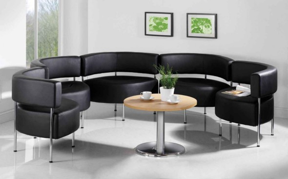 Modern and elegant matte black curved shaped modular sectional sofa