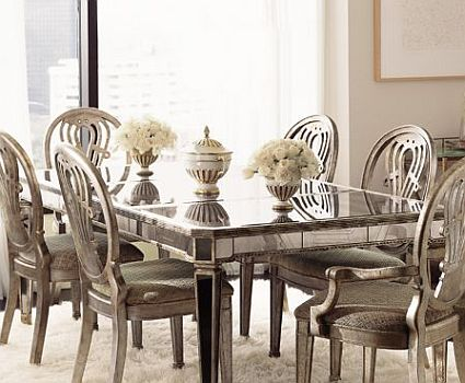 Mirrored furniture spacious interior design for Decorative dining table accessories