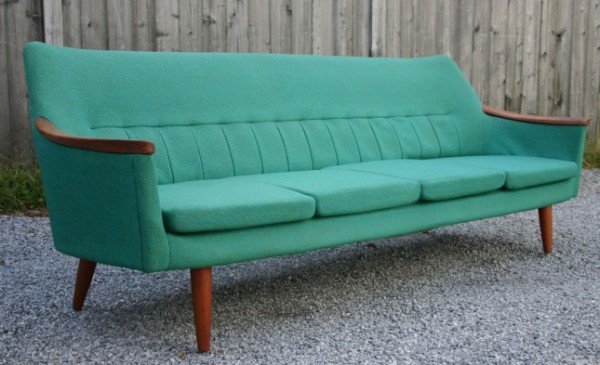 Swedish Teal Teak Sofa
