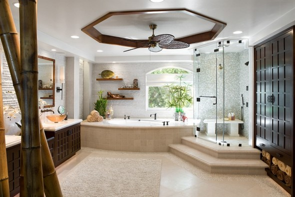 Speaking of bathrooms, spa-like home bathrooms are catching on. Inspired by classic Chinese and traditional design elements, bathrooms easily usher in that spa-inspired vibe.