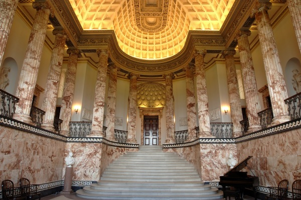 The Marble Hall at Holkham Hall, seat of the Coke Earls of Leicester.