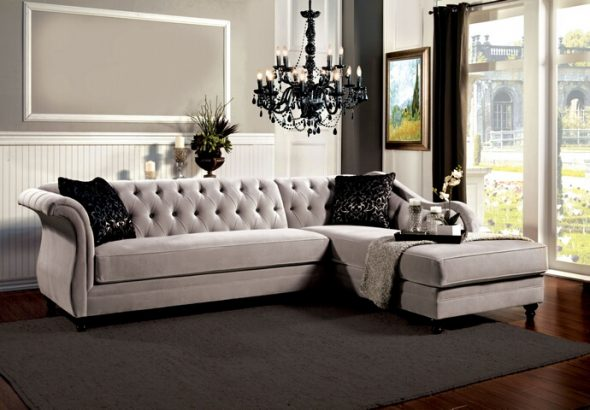 Flared Arm Sectional Sofa