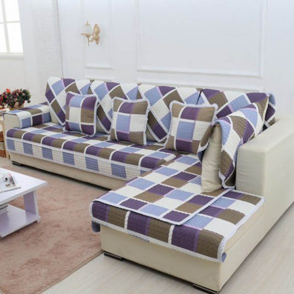 Plaid Sectional Sofa