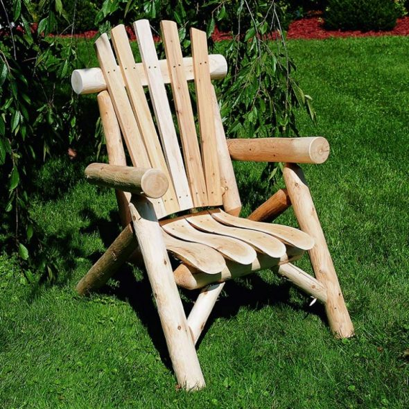 wood chair in garden