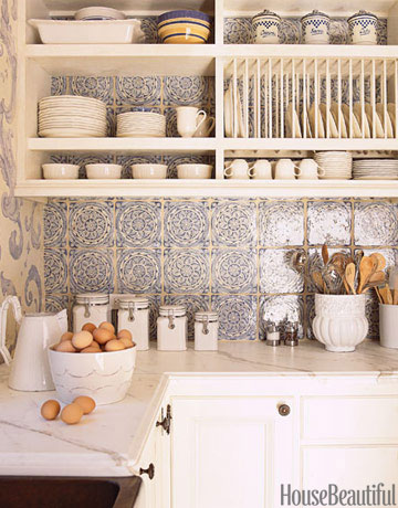 French Style Designer Has Created A Backsplash With Blue And White Tile From Country Floors