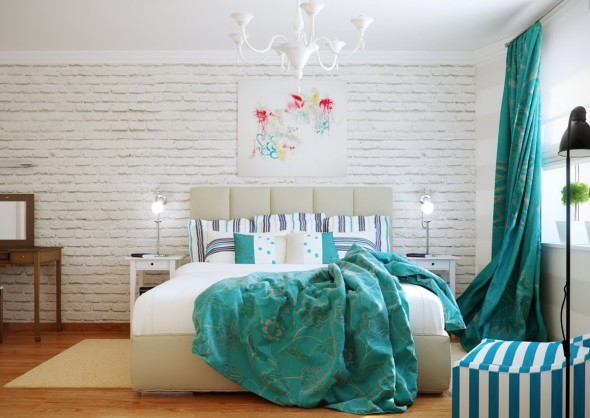 Brilliant Design Turquoise White Bedroom Scheme Propose Affluent Interest Involve Color Circulation Blending Involvement And Plan Roaching