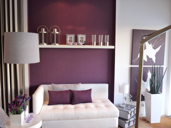 aubergine and grey living room home decor color trends 2015 20911